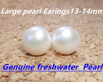 market pearl extra white bridesmaid stud gift large real studs ivory etsy earrings il