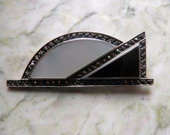 Antique Sterling Silver Marcasite, Mother of Pearl Brooch and Onyx, Pin.    Art Deco
