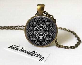 Mandala Pendant, Black and White Mandala Necklace