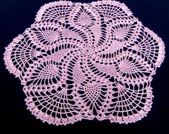 READY TO SHIP New pink crochet doily-crochet tablecloth