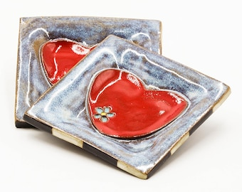Heart Ring Dish | Jewelry Holder | Jewelry Dish | Trinket Dish | Ceramic Ring Dish | Square Ring Dish | Handmade Pottery | Gift for Her