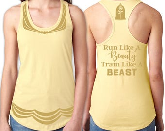Belle Running Tank Shirt Front, Back - Dress Front, Rose & Run Like a Beauty Train Like a Beast Back - Yellow Shirt, Gold Vinyl