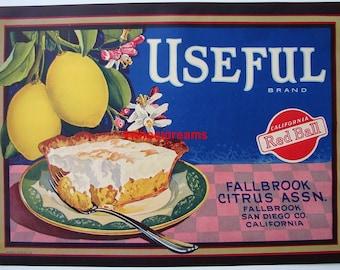 1940s Lemon Meringue Slice Pie CA Lemon Citrus Label Fallbrook