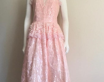 80s Lace Dress / NOS Vintage Dress / Pretty in Pink / 80s Does 50s / Cotillion