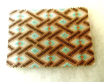 Beaded ACEO Mat - Brown Ribbon - Glass Delica Seed Beads - OOAK 1496