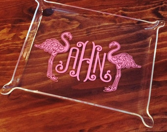 Monogrammed Pinched Edge Acrylic Tray - Small