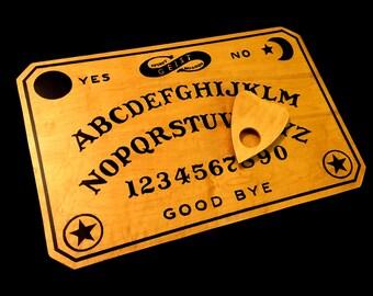 Wooden Ouija Board Set with Planchette, Handmade Vintage William Fuld Style Spirit Board by GEIST - As Seen in GHOST TEAM!