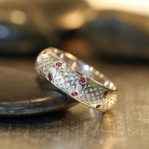 Celtic Wedding Ring 14k White Gold Diamond and Ruby Ring 6mm
