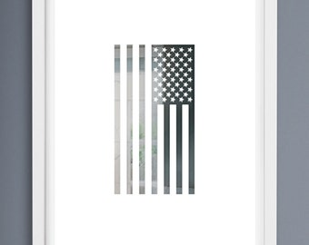"""American Portrait by Brian Edlefson. A signed, limited edition, 24""""x36"""" screen printed American flag print."""