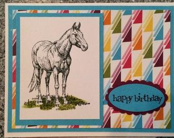 Happy Birthday card, horse birthday card, teen birthday or 'tween birthday  B13-5