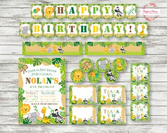 Jungle Invitation Party Pack - Jungle Animals Party Invitation - Jungle Birthday Supplies - Printable - Digital File - EASY TO PRINT!