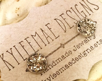 Silver Crushed Glass Post Style Earrings, Wedding Earrings, Druzy Look Earrings, Silver Earrings that Glitter and Sparkle, Stud Earrings