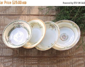 ON SALE Mismatched Dessert Bowls Set of 4 Tea Party Serving Bowls Wedding Noritake Farmhouse Cottage Style China Replacement China