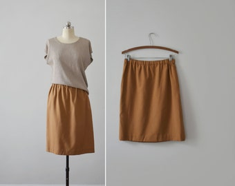 rust brown skirt / vintage elastic waist knee length skirt / womens M