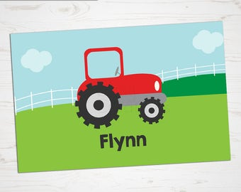 Children's Placemat - Farm Tractor Placemat - Personalized with Child's Name - Custom Placemat