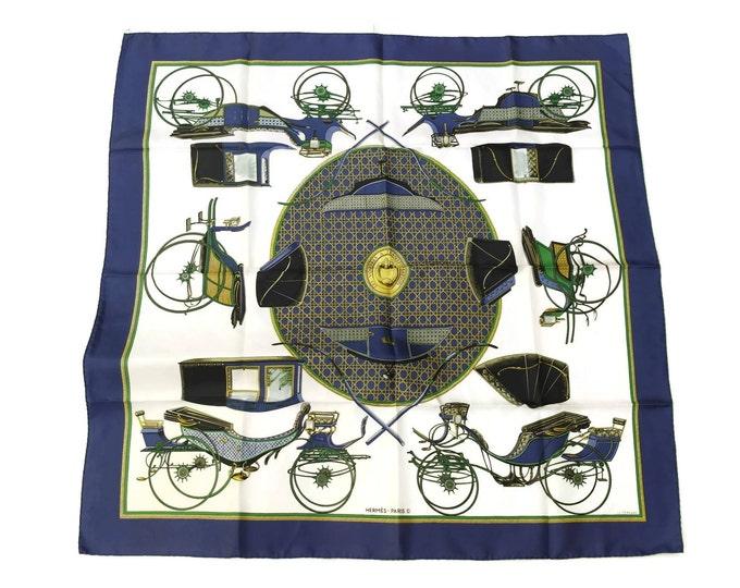 Vintage Hermes Silk Scarf Les Voitures a Transformation. 90cm x 90cm.