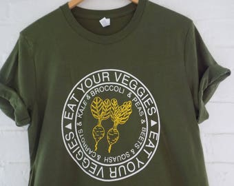 Veggie T-Shirt, Food Shirt, Vegetable Shirt, Screen Print Shirt, Gardening Gift, Foodie Gift, Soft Style Tee