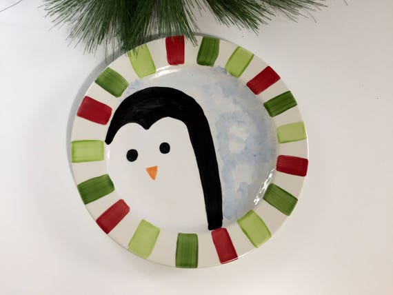 Hand painted Christmas Penguin Platter, Christmas cookie plate, penguin platter, Christmas platter, Hand painted, holiday platter