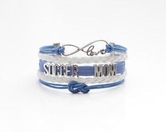 Love Infinity SOCCER MOM Blue White Cord Bracelet