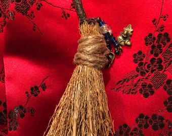 Besom (Witches' Broom): 5 inches. Mountain Laurel Handle, with Beads and Life / Death Charms