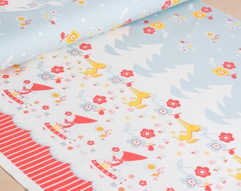 Shinzi Katoh   Japanese fabric - kawaii fabric - Red Riding Hood - oxford cotton - 1/2 YD