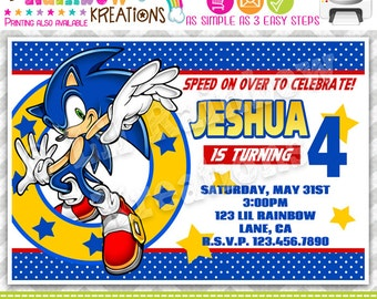 718: DIY - Sonic The Hedgehog Party Invitation Or Thank You Card