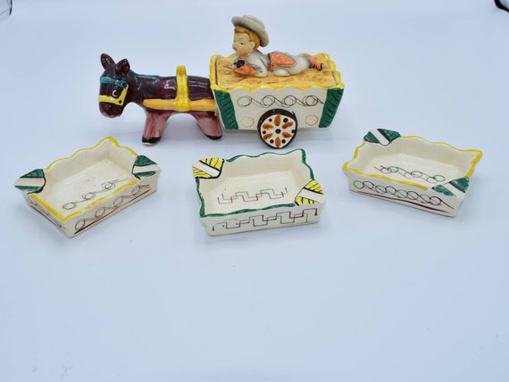 Donkey and Cart-Made in Occupied Japan Vintage Ceramic Donkey & Boy Set 3 Ashtrays Art Deco Art Nouveau Decor Mule Wagon Trinket Tobacciana