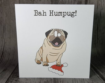 SALE! Bah Humpug funny animal pun pug Christmas Holiday Greetings Card handmade by Relephant Cards.Blank.Just a card.Happy mail