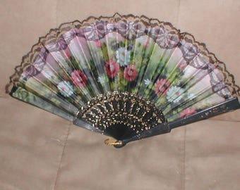 Vintage Black Lace & Floral Print Folding Fan
