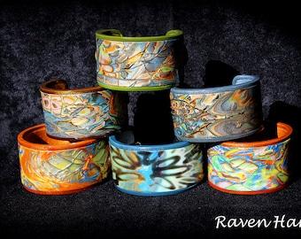 Handmade Polymer Clay Cuff Bracelets, Mokume Gane Technique
