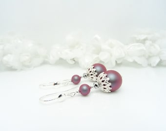 """Pearl Earrings in 925 Silver Pearl Crystal Chrome beads and Swarovski """"Iridescent"""" Red"""""""