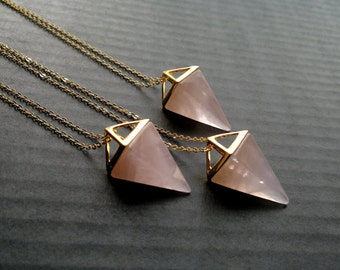 Statement Jewelry Rose Quartz Necklace Triangle Necklace Rose Quartz Pendant Geometric Pendulum Necklace Stone Necklace Rose Quartz Jewelry