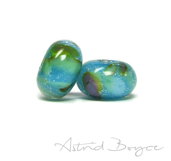 Mermaid Reef Lampwork Bead Pair - Spacer Beads that reflect Mermaid Style in Art Jewelry Crafting Creations - Perfect for your OOAK Art Doll
