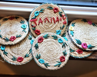 """Hand Woven; Straw Coasters; Set of 6; Approx. 4"""" Diameter; Souvenir of Jamaica; FREE SHIPPING !!!"""