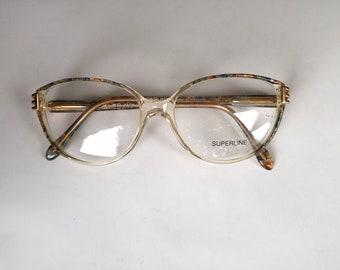Vintage Eyeglasses Superline France Cats Eye Glasses Clear Cats Eye Cat Eye Glasses Retro Cats Eye Cat Eyeglasses Vintage Glasses NEW OLD