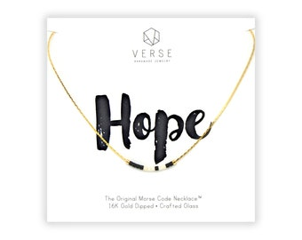 Hope Morse Code Necklace, Hope Necklace, Survivor, Hard Times Gift, Baptism Gift, Inspirational, Hopeful, Hope Charm, Believe Necklace, Hope