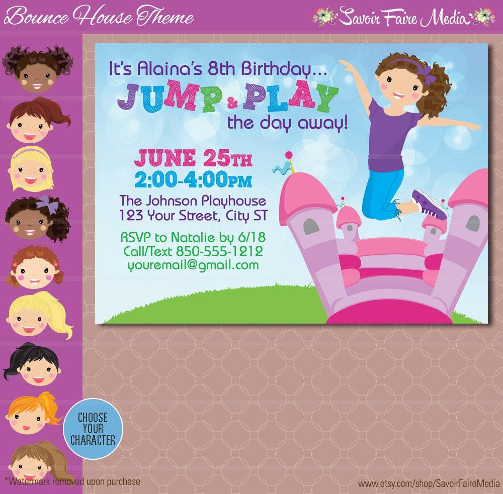 Bounce House Party Invitation Inflatable Birthday Invitation