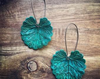 Lily Earrings / Verdigris Patina / Leaf Earrings / Verdigris Jewelry / Lily Jewelry / Leaves Earrings / Patina Lily / Lily Pad Earrings