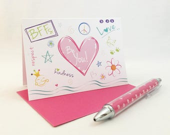 tween note cards stationery, cute note cards for girls, stationery for girls, fun note cards, kids stationery