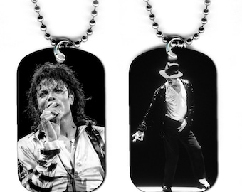 DOG TAG NECKLACE - Michael Jackson #4 King of Pop Music Star Singer