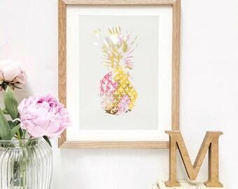 Metallic Pineapple Print