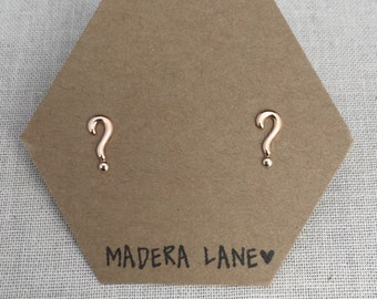 Tiny Question Mark Stud Earrings in Gold. Sterling Silver Posts. Grammar Studs.  Punctuation Stud Earrings. Grammar Jewelry. English Studs.
