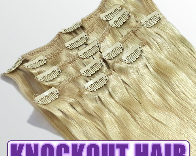 """Clip In Human Hair Extensions 18"""" - 120 Grams Full Head Remy Premium Grade AAAAA Double Wefted (Golden Ash Blonde #24)"""