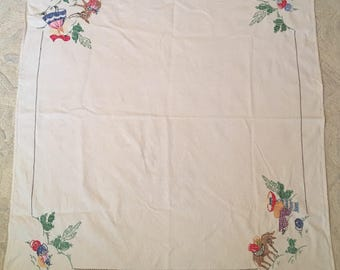 Vintage Latin American tablecloth 42 inches by 48.5
