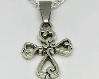 Silver heart cross necklace