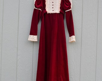 1970's does Victorian maroon deep red velvet mutton sleeve dress with lace detailing vintage gown