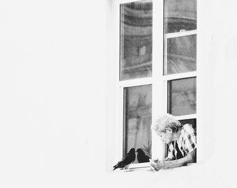 Fine Art Photography | Urban Street Photography | Woman at Window with Pigeon | Puerto Rico Art | Tan, Neutral Art Print | Large Wall Art