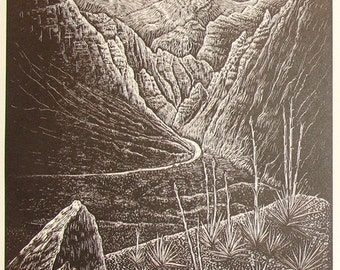 Woodcut Print Original Woodblock Follow the Light Wood Engraving Southwest Desert Nevada Landscape