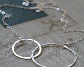 Silver Interlocking Circles Necklace- two circle necklace, open circle necklace, silver circles infinity necklace, karma necklace