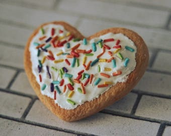 Sugar Cookie With Rainbow Sprinkles and Frosting Clay Handmade Pin